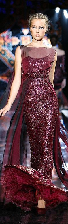 The Millionairess of Pennsylvania: Zuhair Murad burgandy red evening gown