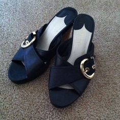 Black wedges Great condition. Has some piling as shown in pictures. Used many times as you can tell. But in great condition. Ask questions if needed. Price is negotiable:) Daisy Fuentes Shoes Wedges