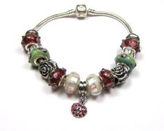 European style charm bracelet - Flowers and Hearts - size 6 to 7.5