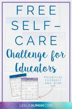 Free Self-Care Challenge for Educators Health Activities, Self Care Activities, Teacher Morale, School Resources, Teaching Resources, Teaching Ideas, First Day Of School, Middle School, Time Management Tips