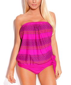 Loving this Pink Stripe Blouson Tankini - Women on #zulily! #zulilyfinds