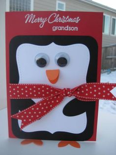 a penguin christmas card (using top note diecut from Big Shot)