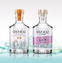 Osmoz Gin - Classic  and Citrus - Distilled from grappes - Famille Vallet - Packaging designed by #Linea