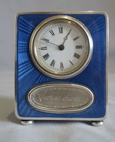 Antique rare blue guilloche enamel carriage clock with signed hand ...