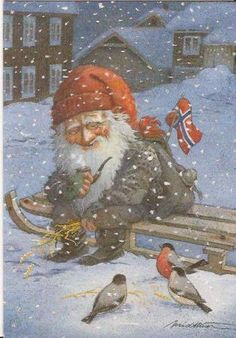 🌟God jul 🌟 This is a Tomte feeding little birds that otherwise would have some trouble finding seed in the snow ❄️ Thank you… Norwegian Christmas, Scandinavian Christmas, Christmas Gnome, Christmas Art, Troll, Kobold, Elves And Fairies, Christmas Pictures, Faeries