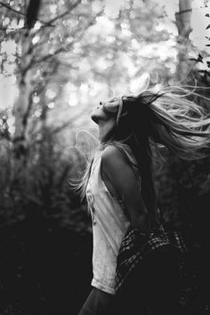 girl, hair, black and white, photography