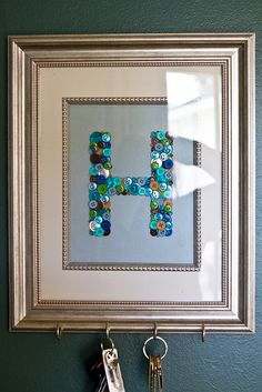 Pinterest Project- Framed Button Key Hooks by foodiebride, via Flickr