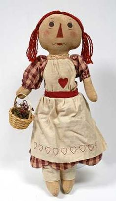 Primitive Country Rag Doll With Berry Basket... Isn't she cute?