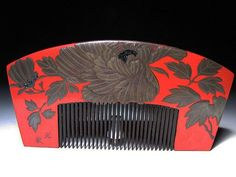 Edo period. Botan flower decoration on red lacquer