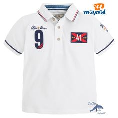 "Polo niño MAYORAL granito bordado ""92"" blanco Children Wear, Kids Wear, Boys T Shirts, Dory, Boy Fashion, Kids Boys, Blue Denim, Halo, Polo Shirt"