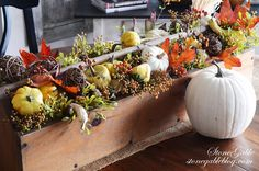 Fabulous Fall Tool Caddy Arrangement by StoneGable! #Fall #Decor