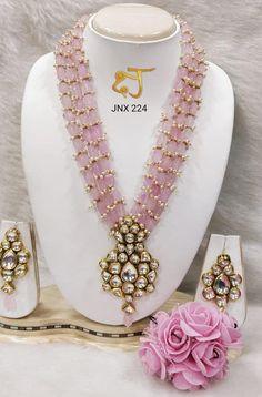 VeroniQ Trends-Royal Designer Rani Haar in Kundan und Faux Light Pink Edelstein Perlen Halskette Set-Hyderabadi, Lucknowi, Jaipuri, Indian - jewelry trends Fancy Jewellery, Gold Jewellery Design, Bead Jewellery, Beaded Jewelry, Beaded Necklace, Strand Necklace, Gold Jewelry Simple, Coral Jewelry, Bridal Jewelry