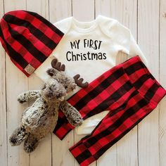 222a0fb7887 My First Christmas Onesie and Grey Buffalo Plaid Outfit