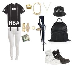 """Untitled #145"" by yungrichnation ❤ liked on Polyvore featuring Hood by Air, 7 For All Mankind, Alexander Wang, Deborah Pagani, Versace, Rolex, David Yurman and RIFLE"
