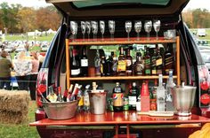 Bar/Champagne bar from the back of a Volvo car.