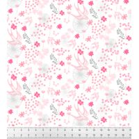 """Tissu """"Hirondelle des mers"""" (Rose dragée) BÖ GRAPHIK • Popeline 100% Coton • Laize 150 cm • Densité 127 g/m2 • Lavage à 30° en machine • Vendu au mètre 22,00 €"""