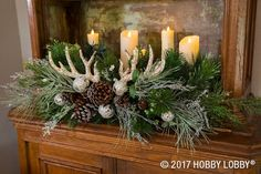 For Christmas arrangements that are festive and rustic, gather floral picks, ornaments, pinecones, faux antlers and candles! rustic Christmas Floral Picks: Decking the Halls - Seasonal & Holiday Christmas Deer Decorations, Christmas Flowers, Christmas Mantels, Christmas Centerpieces, Christmas Wreaths, Holiday Decor, Holiday Candles, Country Christmas, Christmas Home