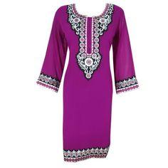 Mogul Woman's Ethnic Indian Long Kurti Pink Georgette Tunic Dress