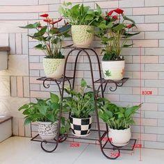 plant stands lower Racks Iron Plant Stand Flower Pot Garden Storage Shelf for Balcony Outdoor for sa Indoor Flower Pots, Pot Jardin, Decoration Plante, Iron Plant, Diy Plant Stand, Outdoor Plant Stands, Metal Plant Stand, Flower Stands, Plant Shelves