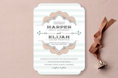 Striped Sweet Nothings Wedding Invitations by Frooted Design at minted.com