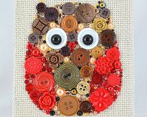 Button Art - Mister Owl - Home Decor, Owl Wall Hanging, Button Artwork, Nursery…