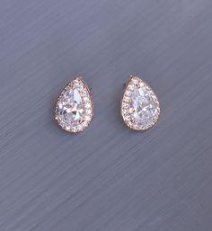 Rose Gold Wedding Earrings Teardrop Stud by AuroraLuxeBridal