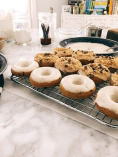 Mini Chocolate Chip Cookie Baked Donuts | http://joythebaker.com/2016/04/mini-chocolate-chip-cookie-baked-donuts/