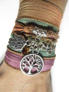 Tree of Life Wrap Silk Bracelet Yoga Bracelet Hamsa Hand Of Fatima Om Bohemian Spiritual Bracelet Yoga Namaste Zen Jewelry Birthday Gift on Etsy, $29.99