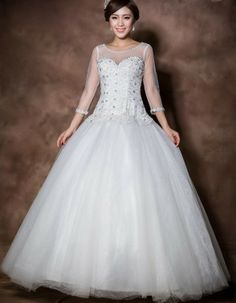 2014 plus size wedding dress princess dress backless 3/4 sleeve tulle  women dress free shipping white  $181.18