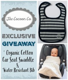 Swaddle your baby in style with this organic car seat friendly swaddle. Soft and luxurious, these baby swaddles are totally unique and innovative. Also win a water-resistant bib! Baby Giveaways, Baby Swaddle, Children And Family, Baby Products, Parenting Hacks, Car Seats, Organic, Random, Unique