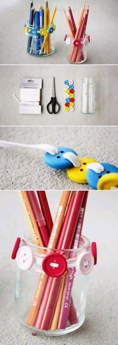 DIY Glass Jar and Buttons Pen Holder   DIY & Crafts Tutorials