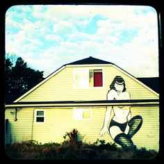 The Bettie Page house, viewable from I-5 near Ravenna in Seattle
