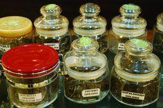 Varieties of tea displayed in a jar.