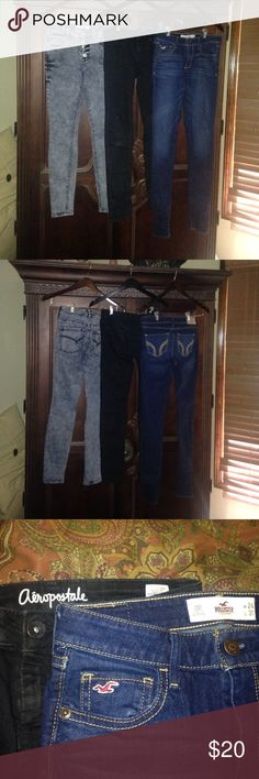 Size 0 skinny jean bundle includes: black Aeropostale Lola jeggings size 0/short, Hollister dark blue denim  skinny jeans size 0 (W24 L31),  Bullhead black acid washed high waisted skinniest jeans with button fly size 0. All in excellent used condition. Bullhead Jeans Skinny
