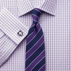 Lilac and white check slim fit shirt   Slim fit dress shirts from Charles Tyrwhitt   CTShirts.com