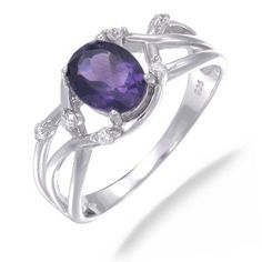 8x6MM 1.20 CT Amethyst Ring In Sterling Silver (Available in Sizes 5-9)