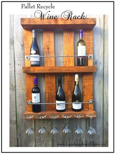 """#Kitchen, #PalletWineRack, #PartyDecor, #RecyclingWoodPallets, #WineRack I made this Recycled Pallet Wine Rack with a small pallet - this is like a half sized pallet. All I did was buy two chrome rails, a 2 x 2-inch strip of outdoor H1 pine and six2"""" screw hooks. This is my first pallet project, and I'm pretty excited"""