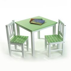 Lipper Children's Table and Chairs Set, Green