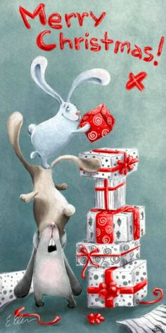Adorable bunnies stacking Christmas presents.
