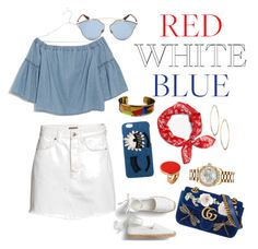 """Red white blue contest "" by eshly995 ❤ liked on Polyvore featuring H&M, Madewell, Chiara Ferragni, Gucci, Christian Dior, Lydell NYC, Hermès, Rolex and STELLA McCARTNEY"