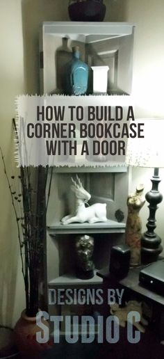 Corner Bookcase Using an Old Door