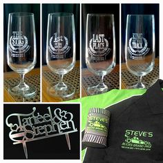 Here are a few items we made for couple's recent wedding reception and buck's party, featuring original designs by Lumigrafika. Wedding Cake Toppers, Wedding Cakes, Polo Shirt Embroidery, Drink Coolers, Engraved Glassware, Wedding Reception, Congratulations, Beer, Printing