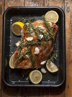 Roast Leg Of Lamb With Rosemary, Garlic, Harissa And Lemon