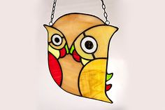 Owl Suncatcher Hang it on your window Stained Glass Decoration Little, Ornament, Handmade in EU, Poland