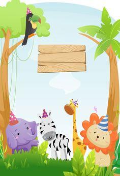 Wild One Safari Animals Zoo Birthday Costum Backdrop U0511