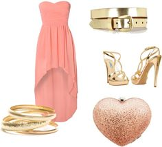 """""""Peach and Gold"""" by bombaloo on Polyvore"""