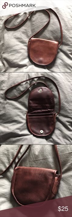 "Vintage Bloomingdale's small leather purse Beautiful leather cross-body purse in purple brown color. Snap clasp, 2 compartments inside and 1 zippered pocket. Top of purse is 7.5"" wide, middle of purse is 6"" tall. Strap is approx 22"" off shoulder Bloomingdale's Bags Crossbody Bags"