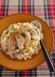 鶏肉とマッシュルームのガーリックピラフ のレシピ・作り方 │ABCクッキングスタジオのレシピ | 料理教室・スクールならABCクッキングスタジオ
