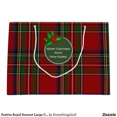 Festive Royal Stewart Large Custom Gift Bag Large Gift Bag