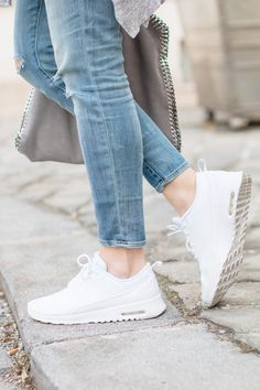 A casual outfit with my brand new, all white Nike Air Max Thea. Nike Shoes Cheap, Nike Free Shoes, Nike Shoes Outlet, Running Shoes Nike, Cheap Nike, Teen Fashion, Fashion Shoes, Fashion Trends, Cheap Fashion